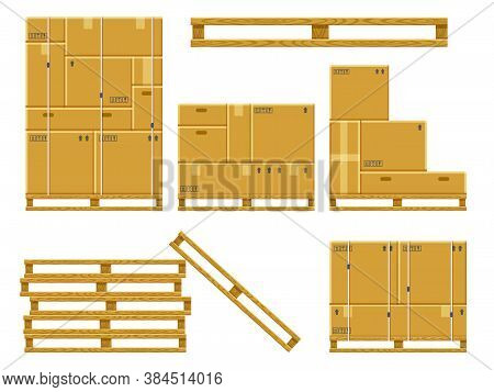 Cargo Box Stack. Carton Delivery Packaging Boxes On Wooden Pallet, Stacked Cardboard Package, Wareho