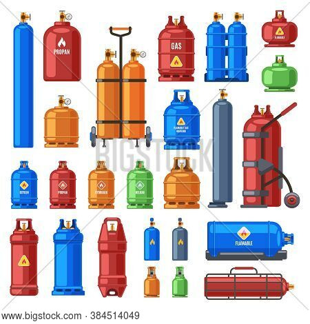 Gas Cylinders. Propane, Oxygen And Butane Metal Containers, Cylindrical Helium Tank, Fuel Storage Ga