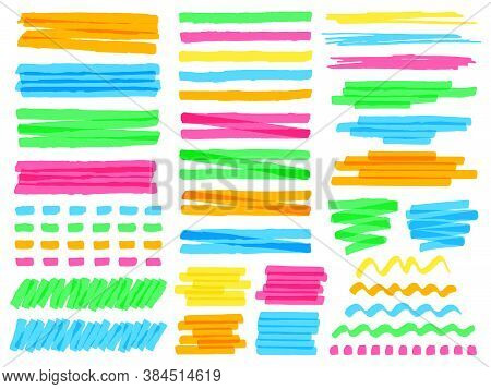 Highlight Marker Lines. Colorful Doodle Highlight Marker Lines, Yellow Markers Stripes, Pink Line Hi