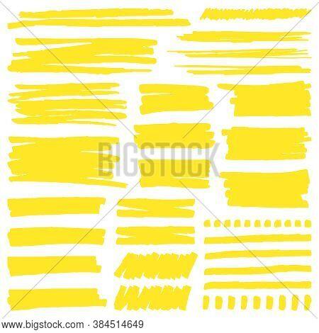 Yellow Marker Stroke. Highlight Marker Stroke Lines, Bright Permanent Marker Sketch, Doodle Highligh
