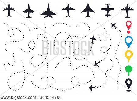 Plane Route Line. Planes Dotted Flight Pathway, Travel Destination Airplane Track, Planes And Travel