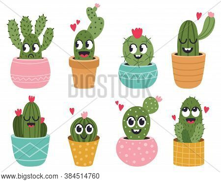 Cute Cactus Faces. Funny Succulent Cacti Face, Tropical Prickly Potted Smiling Plants, Mexican Cactu