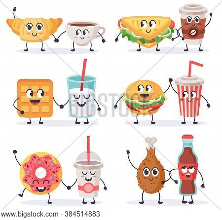 Cartoon Food Characters. Junk Food Mascots, Sandwich With Coffee And Donut, Street Food And Beverage