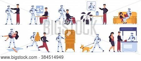 Robot Helps Human. Artificial Intelligent Personal Assistant, Robotic Devices Helps Human Owner, Ser