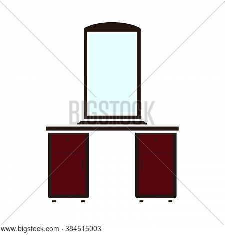 Dresser With Mirror Icon. Flat Color Design. Vector Illustration.
