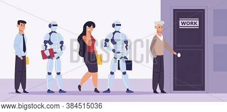 Human And Robot Recruitment. People And Artificial Intelligence Standing In Job Interview Line, Empl