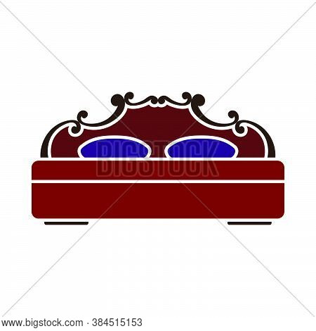 King-size Bed Icon. Flat Color Design. Vector Illustration.