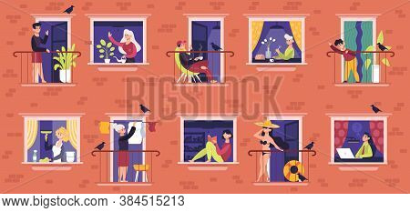 People In Windows. Neighbors Characters Communicating, Male And Female People In Windows Frames, Nei