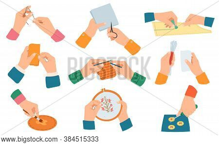 Creative Handcraft. Workshop, Needlework And Knitting Handmade Process, Human Hands Do Hand Craft Is
