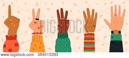 Counting Hands. Hand Gestures, Modern Hand Drawn Finger Count From One To Five, Numbers Shown By Han