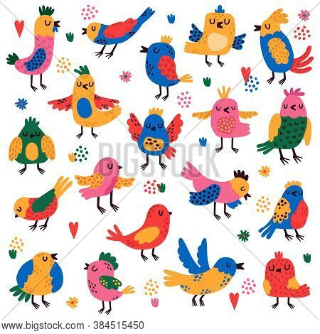 Cute Birds. Hand Drawn Colorful Little Birds, Doodle Songbird Characters, Nature Forest Bird Childis