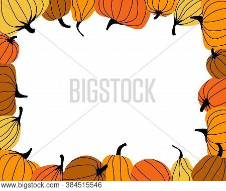 Frame Made From Bright Orange Pumpkins. Autumn Harvest. Bright Pumpkin Is The Main Symbol Of The Hal