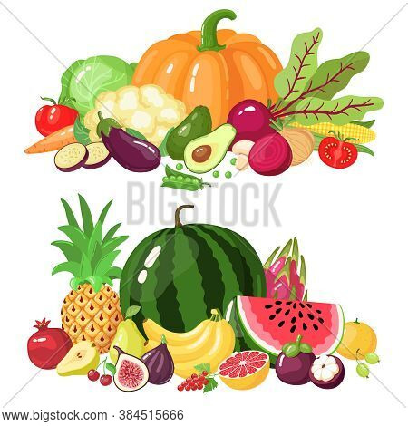 Vegetables And Fruits. Cartoon Vegetarian Food, Watermelon, Pumpkin And Apple Vitamin Fresh Veggies