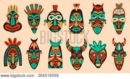 Traditional Tribal Masks. Ritual African Or Hawaiian Traditional Ceremonial Totem, Ethnic Antique Wo