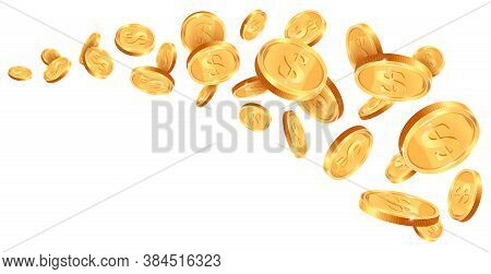 Realistic Gold 3d Treasure. Golden Coins Wave, Cash Coins Falling Trail, 3d Golden Treasure Winner P