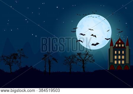 Halloween Background With Copy Space For Text. Spooky Forest With Dead Trees Silhouette, Moon, Bat A