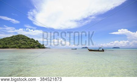 Beautiful View Landscape Of Tropical Beach , Emerald Sea And White Sand Against Blue Sky, Maya Bay I