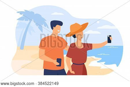 Happy Young Couple Taking Photo With Cellphone Flat Vector Illustration. Cartoon Man And Woman Enjoy