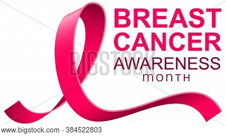 Breast Cancer Awareness Month Pink Ribbon Text Template Banner. Vector Isolated On White