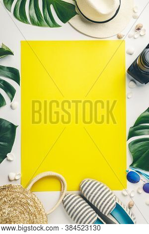 Straw Hat, Camera, Bag, Summer Shoes, Sunglasses, Shells And Tropical Leaves Over White And Yellow B