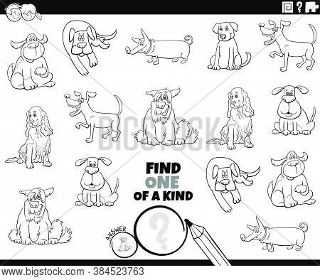 Black And White Cartoon Illustration Of Find One Of A Kind Picture Educational Game With Comic Dogs