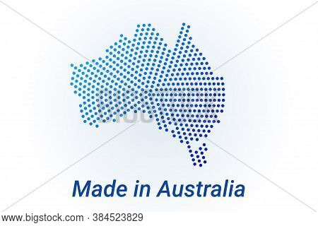 Map Icon Of Australia. Vector Logo Illustration With Text Made In Australia. Blue Halftone Dots Back