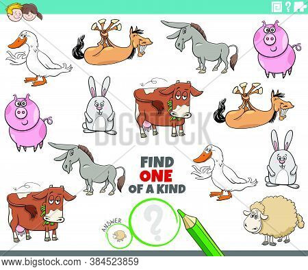 Cartoon Illustration Of Find One Of A Kind Picture Educational Game With Comic Farm Animal Character
