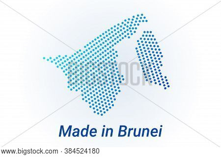 Map Icon Of Brunei. Vector Logo Illustration With Text Made In Brunei. Blue Halftone Dots Background