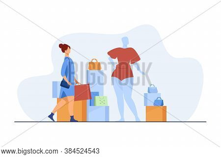 Woman Shopping In Fashion Store. Customer With Bags, Mannequin, Accessory Flat Vector Illustration.