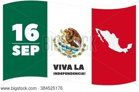 Vector Mexico Independence Day 16 September Celebration Card On White Background. Translation Of The