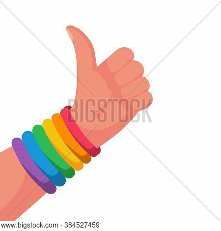 Gay Pride Concept. Hand Makes Like. Bracelet With A Rainbow Flag Lgbt Pride. Vector Illustration Fla
