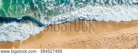 Aerial View Seascape With Beach And Waves Summer Vacation Travel And Relax Background