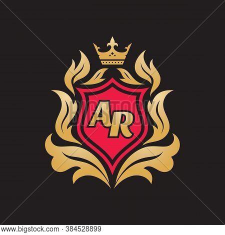 Monogram Ar Letters - Concept Logo Template Design. Crest Heraldic Luxury Emblem. Red Shield, Golden