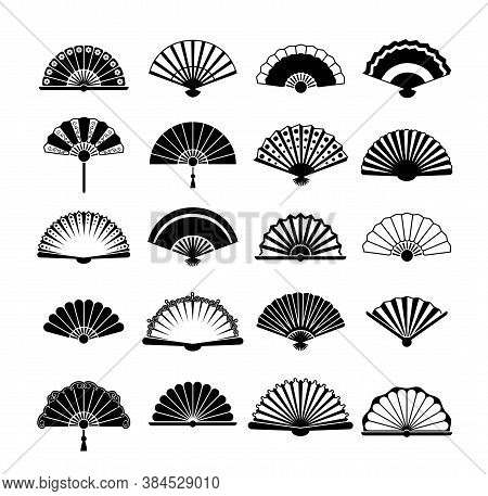 Fans Silhouette Set. Collection Vintage Oriental Accessory With Stylish Korean Retro Designs Fashion