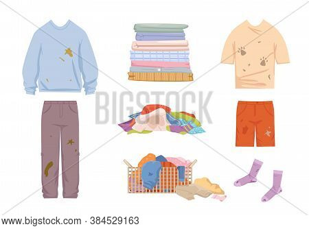 Dirty Clothes And Mess Set. Grease Stained Blue Sweater And Pants Pile Of Unwashed Socks Shorts Tshi