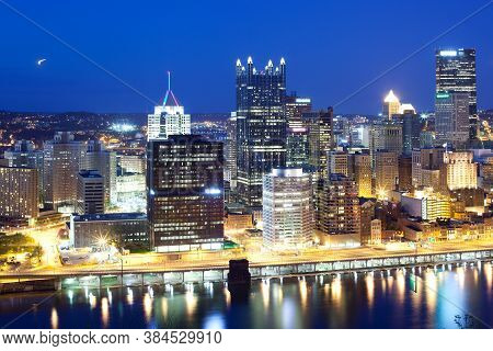 Skyline At Night Of The Central Business District Of Pittsburgh, Pennsylvania, United States