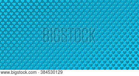 Valentine's Day Blue Background With Little Embossed Hearts. Vector Illustration Eps10