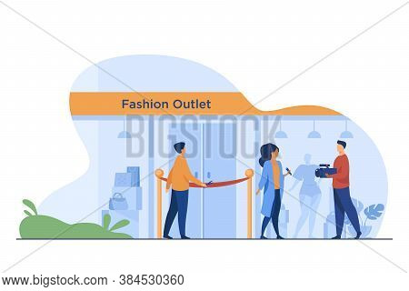Outlet Opening Ceremony. Man Cutting Red Ribbon, Journalist, Cameraman Flat Vector Illustration. Fas