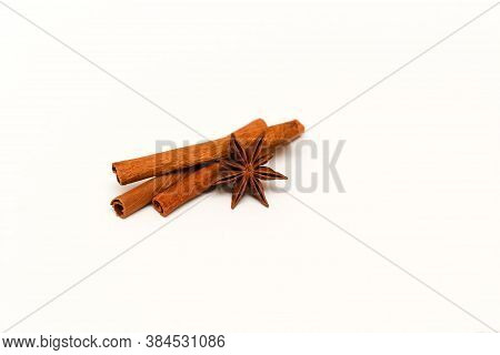 A Few Sticks Of Natural Fragrant Brown Cinnamon And Anise Star Or Badyan.
