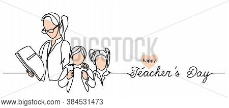 Teachers Day Background With Children And Woman Illustration. Simple Vector Web Banner. One Continuo