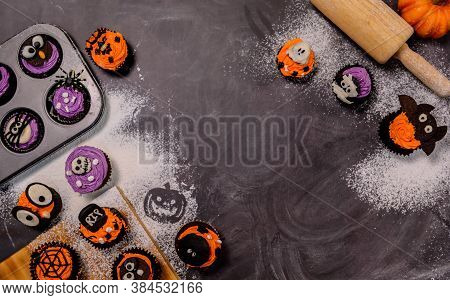 Cooking Delicious Homemade Cake And Decorate Cupcake For Halloween Festive. Preparing And Mixing Ing