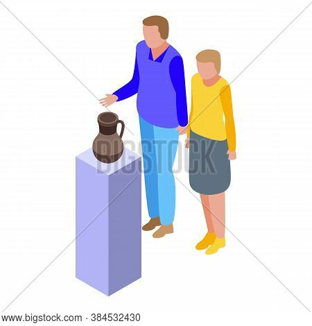 Family Holiday Museum Visit Icon. Isometric Of Family Holiday Museum Visit Vector Icon For Web Desig