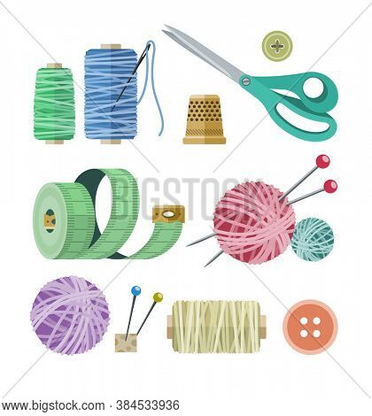 Tools and materials for fancywork. Isolated on white background. 3D illustration.