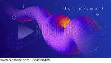 Blue Wave 3d Liquid Shapes. Vector Bright Design. Fluid Vibrant Wallpaper. Colorful Geometric Motion