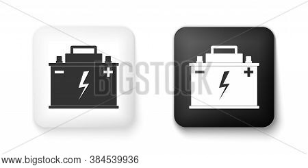 Black And White Car Battery Icon Isolated On White Background. Accumulator Battery Energy Power And