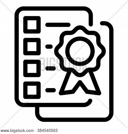 Guideline Certificate Icon. Outline Guideline Certificate Vector Icon For Web Design Isolated On Whi