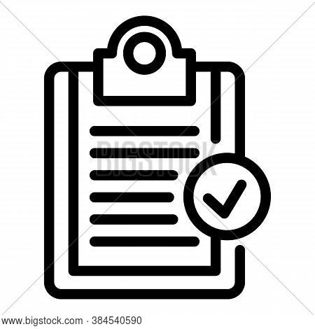 Norm Certificate Clipboard Icon. Outline Norm Certificate Clipboard Vector Icon For Web Design Isola