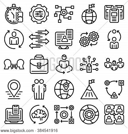 Adaptation Icons Set. Outline Set Of Adaptation Vector Icons For Web Design Isolated On White Backgr
