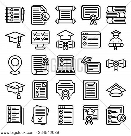 Final Exam Icons Set. Outline Set Of Final Exam Vector Icons For Web Design Isolated On White Backgr