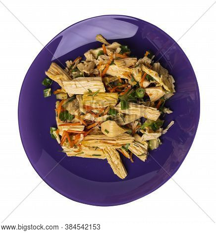 Salad With Soy Asparagus And Carrots, Cucumbers And Dumplings On Purple Plate. Vegetarian Soy Salad
